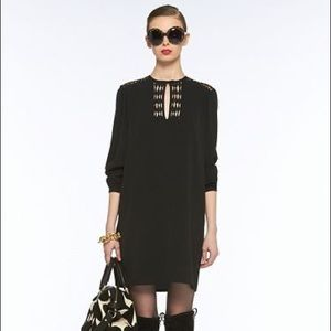 DVF Florina Black Silk Dress with Silver Accents
